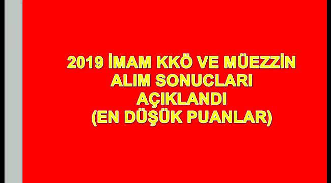 2019 KKÖ İmam ve müezzin sınav sonucları acıklandı.