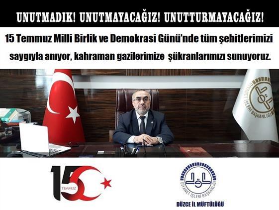 Duzce'de 15 Temmuz Milli Birlik Ve Demokrasi Günü