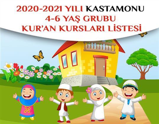2020-2021 Yılı Kastamonu 4-6 Yaş Grubu Kur'an Kursları Listesi