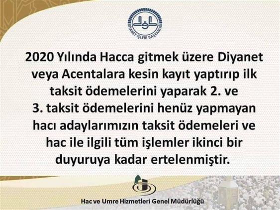 Bursa'da 2020 Hac Kayıtları 3. Taksit ödemeleri Ertelendi