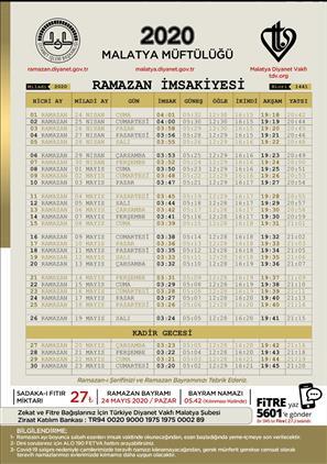 Malatya'da 2020 Yılı Ramazan Ayı Imsakiyesi.