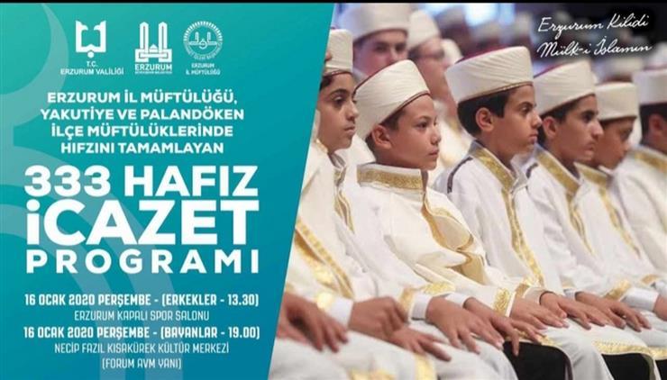 Erzurum'da 333 Hafız Için Icazet Programı