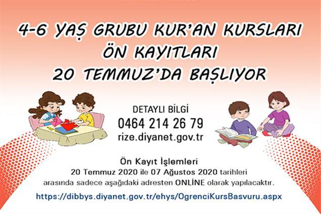 Rize'de 4-6 Yaş Grubu Kur'an Kursları ön Kayıt Başvuruları 20 Temmuz'da Başlıyor...