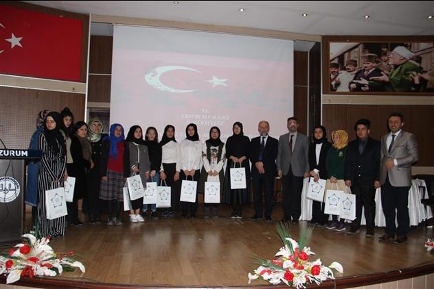 Erzurum'da çanakkale şehitlerine' şiirini Okuma Yarışması Birincisi Köprüköy'den