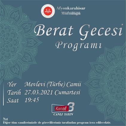 Afyonkarahisar'da Berat Kandili Kanal3 Tv Canlı Yayın özel Programı