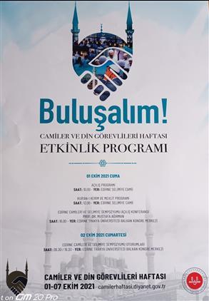 Edirne'de Camiler Ve Din Görevlileri Haftası Etkinlik Programı