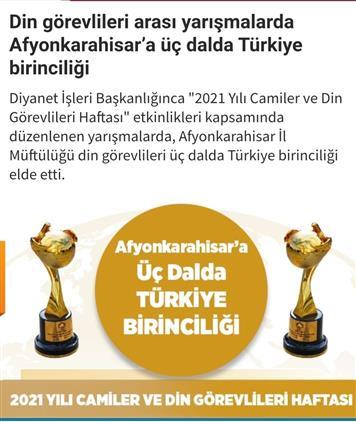 """""""camiler Ve Din Görevlileri Haftası"""" Yarışmalarında Afyonkarahisar'a Türkiye Birinciliği ödülleri"""