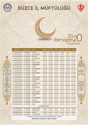 Düzce 2020 Ramazan Imsakiyemiz Hazır