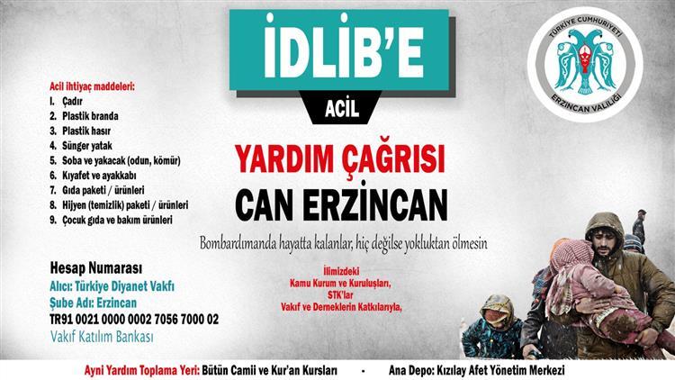 Erzincan'dan Suriye / Idlib Için Yardım Seferberliği