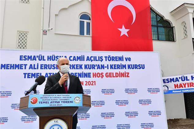 Gaziantep'de Esma-ü'l Hüsna Camii Ibadete Açıldı - M. Ali Eruslu Kur'an Kursunun Temeli Atıldı