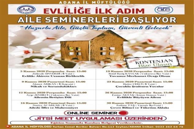 Adana'da Evliliğe Ilk Adım Aile Seminerleri Başlıyor