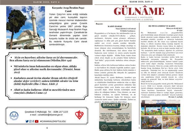 Çanakkale'de Gülname Kasım 2020 Sayı:4
