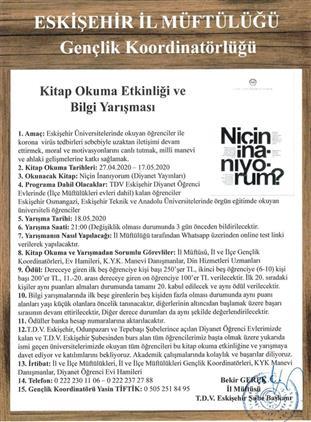 Eskisehir'de Kitap Okuma Etkinliği Ve (online) Bilgi Yarışması