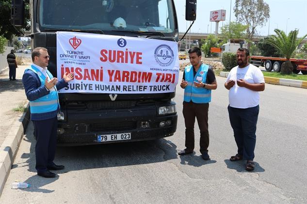Il Müftülüğümüz Ve Türkiye Diyanet Vakfı Mersin şubesi Suriye'ye 7. Yardım Tırını Gönderdi