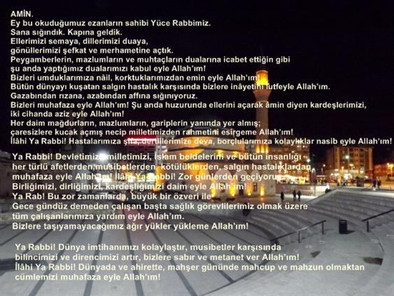 Sivas'ta Ilimizdeki Tüm Camilerden Yatsı Ezanı Ile Dua Yapıldı