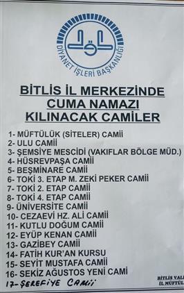 Bitlis'de Ilimizde Cuma Namazı Kılınacak Camilerimiz
