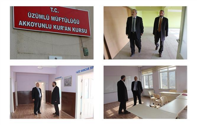 Erzincan'da Müftümüz, üzümlü Ilçesi Akkoyunlu Kur'an Kursu Binasında Incelemelerde Bulundu
